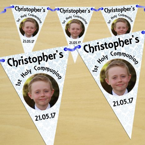 Personalised Boys First Holy Communion Flag PHOTO Bunting Banner - N55